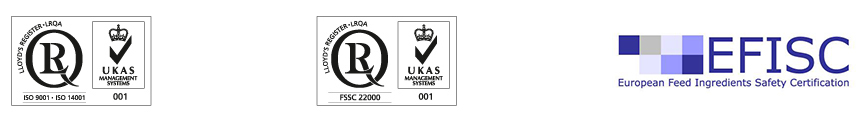 High-quality and feed safety with wheat raw materials with the ISO 9001 quality management norm Careful and gentle use of our resources is part of our environmental management system, which is certified with the ISO 14001 environmental management standard With the international ISO 22000 norm for management systems for food safety, we have also obtained an additional quality certificate for industrial animal feed, which is applicable for our highly-functional products on the basis of wheat | Crespel & Deiters