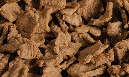 The small, light-brown Trigovit® Tex Flakes SBS 111 are textured wheat proteins for feed applications in animal feed   Crespel & Deiters